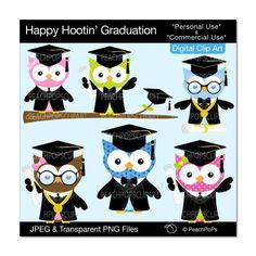 cute graduation owl clip art  chic grad owls digital clipart animal, school, college - Happy Hootin Graduation - Personal and Commercial Use. $5.00, via Etsy.