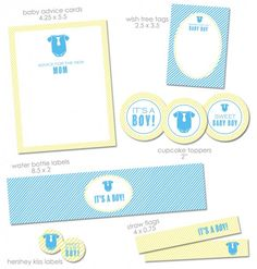 """FREE """"It's a Boy"""" Baby Shower Printables from Green Apple Paperie 
