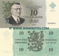 Finland 10 Markka 1963 Front: Portrait of President and Prime Minister Juho Kusti Paasikivi born as Johan Gustaf Hellsten. Watermark: Three wavy lines. History Of Finland, Finnish Words, Money Notes, Nostalgia, Good Old Times, Old Money, Coat Of Arms, Europe, Time Travel