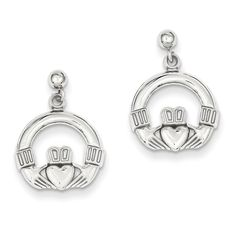 14k Gold Polished Flat-Backed Claddagh Earrings by Versil