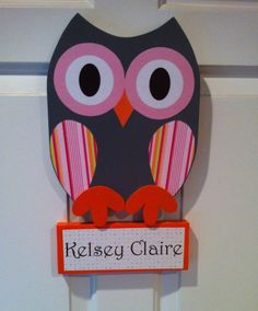 Personalized Wooden Owl Door Hanger with Name Sign by TheWoodenOwl, $29.99