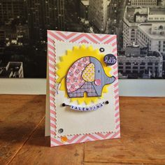 """Hello Valentina Card. Cardstock & vellum: Folia. DP: scraps (MME, Pebbles, Crate Paper); stamps: Woodware (""""Baby Patch Elephant""""), Mama Elephant (""""Everyday Greetings""""); dies: Sizzix (""""Zig Zag Circle); ink: Ranger; name beads, brads, twine & sequins from my stash."""