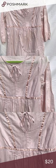 Pink Maternity Top- Motherhood Motherhood  Maternity Top. Pretty pale pink color Nice ribbon accents with a smocked gathering front area. Please see pictures to appreciate . Excellent condition. Tag says M 100% cotton Motherhood Maternity Tops Tunics