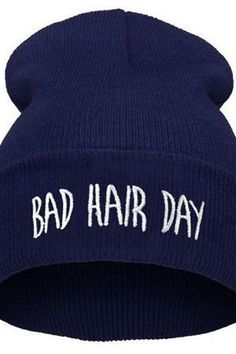 Bad hair day print blue teen winter unisex hat