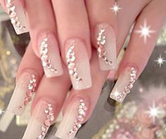 Bridal Nail Art 2011 is the best search in wedding. so in 2011 Bridal Nail Art is famous. Wedding Day Nails, Wedding Nails Design, Wedding Designs, French Nails, Nail Designs 2015, Manicure, Bridal Nail Art, Bride Nails, Rhinestone Nails