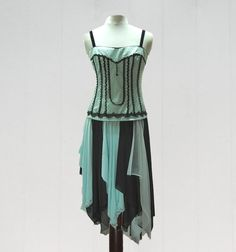 Steampunk Dress- Turquoise and Black, Gypsy, Renaissance, Corset, Funky, Boho, Eco Earth Friendly, Upcycled Clothing