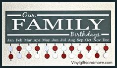 Family Birthday Board- (vinyl only) $10, free shipping over $50, discount on bulk, fits 8''x24'' board