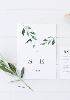 Minimal Leaf Wedding Invitation, printable wedding invitation, elegant wedding invitation, green and white foliage wedding, affordable wedding invitation / Etsy / by Rachel Vanderzon #weddinginvitation