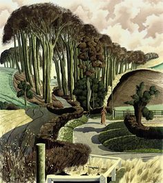 WEEK 5 lawrenceleemagnuson: Simon Palmer (England b. Modest Margaret pencil, ink, watercolour and gouache x cm. realistic painting with mix media, exaggerate tree and scale. Landscape Art, Landscape Paintings, Tree Paintings, Wood Engraving, Tree Art, Gouache, Illustration Art, Landscape Illustration, Scenery