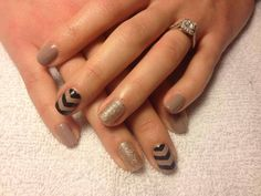 Chevron nails beige black accent nail art  - check me out at ig: nailsgonewild_kv fb: Nails Gone Wild