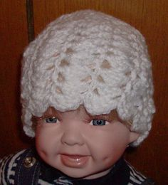 White shell beanie 0 to 3 months by grandmakaystreasures on Etsy, $4.00