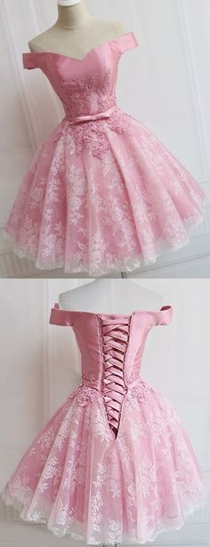 Pink Homecoming Dresses, Short Homecoming Dresses, A-line/Princess Homecoming Dresses, Lace Up Homecoming Dresses, Sleeveless Homecoming Dresses, Off-the-Shoulder Homecoming Dresses, Applique Homecoming Dresses, Mini Homecoming Dresses, Homecoming Dresses 2017, Cheap Homecoming Dress
