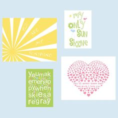 You Are My Sunshine Print set for Lily Pottery Barn by YassisPlace, $69.80