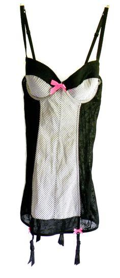 Victoria's Secret Black Lace Garter Slip Strips Size M Sexy little things #GarterSlip