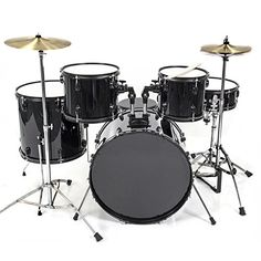 Drum Set 5 PC Complete Adult Set Cymbals Full Size Black New Drum Set ** Details can be found by clicking on the image.Note:It is affiliate link to Amazon.