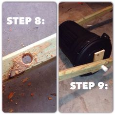 """DIY cheap churning Composter directions: Step 8: measure up the posts 42"""". drill holes using a hole saw or paddle bit 1 1/2inch diameter. Feel free to Waller it out a little. Pipe must be snug but able to slide through.  Step 9: dry fit everything. Put it together. Easier to do it now than to realize something doesn't fit when you're installing it.   Check my board for more posts!"""