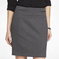 """Express Birdseye Gray Texture Pencil Suit Skirt 4 New with tag! Express birdseye pattern (tweed-like black/gray weave) pencil skirt. Size 4. Never worn. Perfect condition.  Looks like gray from afar, but up close you can see the beautiful textured pattern.  Straight fit through the hip. Back zip. Hits above the knee. The waist measures approx 14"""" across while lying flat. The length measures approx 19"""" down the back. Smoke-free home. Express Skirts Pencil"""