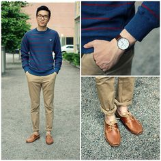 Fred Perry Striped Pullover, Zara Khaki Pants, Oliver Spencer Boat Shoes