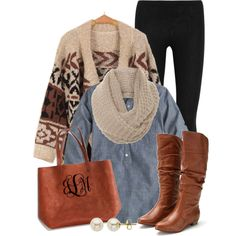 """Cozy in Chambray"" by qtpiekelso on Polyvore"