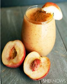 Summer peach cobbler smoothie (add some coconut oil for extra nutrition)