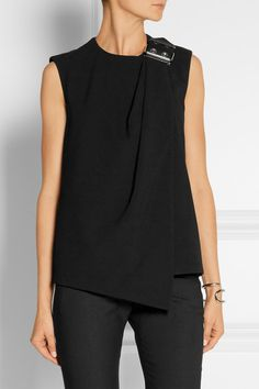 Balenciaga | Wrap-effect leather-trimmed crepe top | NET-A-PORTER.COM