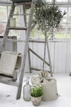 Flower Tree Grain Sack Ladder Shelvings Living room Whitewashed Cottage chippy shabby chic french country rustic swedish decor idea. *** Repinned from Katherine Schieber ***.
