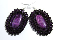 Exquisite Hand Embroidered Soutache Earrings in Purple by Herinia, $35.00
