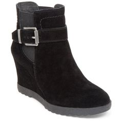 Vince Camuto Black Landri Wedge Bootie - Women's ($61) ❤ liked on Polyvore featuring shoes, boots, ankle booties, black, black ankle booties, wedge booties, black wedge bootie, short black boots and wedge boots