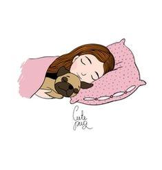 Sleeping beautiful young girl and a cute pug vector Cute Cartoon Boy, Cartoon Bee, Cartoon Kids, Boat Vector, Fish Vector, Mermaid Vector, Spotted Cat, Fox And Rabbit, Halloween Vector
