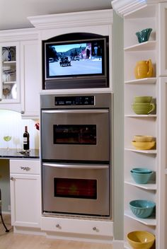 Kitchen on pinterest bread boxes canisters and double ovens for Tv in the kitchen ideas