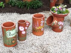 Decorated gardening containers made from recycled drainage pipes