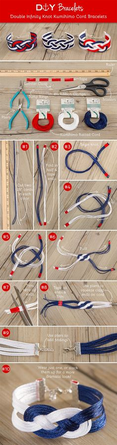 DIY Double Infinity Knot Kumihimo Cord Bracelets. Supplies available at your local (bead store)!Michaels store(not local)!