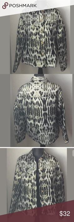 """Peck & Peck large blazer jacket animal print New with tags Peck & Peck large blazer jacket. Animal print black silver gold.  5 button closure Lightweight. Bust 21"""" armpit to armpit. Length 24"""" shoulder to hem. Sleeve 24"""" Measurements are approximate. Peck and Peck Jackets & Coats Blazers"""