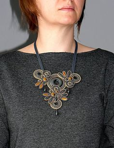 Old gold graphite necklace soutache with Hematite.