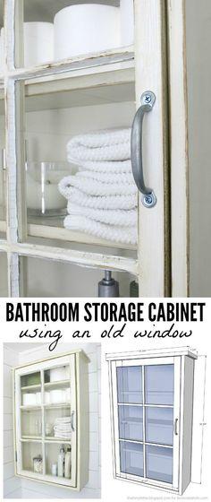 Build a bathroom storage cabinet using an old window