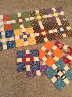 Simple little with divided inner sashing - from Timeless Traditions (Norma Whaley) Scrappy Quilts, Easy Quilts, Small Quilts, Mini Quilts, 9 Patch Quilt, Quilt Baby, Quilt Block Patterns, Quilt Blocks, Canvas Patterns