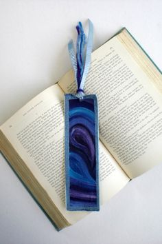 Purple & Blue Swirls Hand-Painted Up-Cycled Denim Bookmark - made from #recycled blue jeans! A unique gift for the reader in your life. $12.00 on Etsy. #amreading