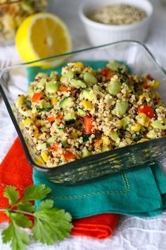 Quinoa Succotash with Spiced Tahini Dressing (vegan and gluten-free)