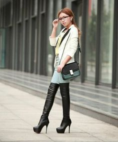 Amazon.com: Sexy Fashion Women High Heels Over the Knee Boots Platform Boots #01: Clothing
