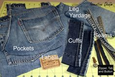 How to cut up your jeans. Make them EASY to store for future projects!