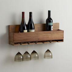 wine bottle glasses mounted rack holder wall display home kitchen #winestemrack
