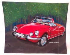 Pastel Sec pour Tableau Rétro, Vintage * VOITURE FRANCAISE DS * - Création Originale : Accessoires de maison par diva-divine