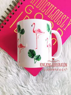 Flamingo Coffee mug by RongrongIllustration, more fun chic mugs at www.rongrongillustration.etsy.com
