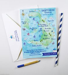 Map Save The Date - Watercolor Map Save The Dates - Hand Illustrated Custom Wedding Map - Santorini Greece Map Card