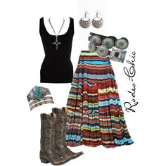 """""""Indian Summer"""" Aztec, Navajo, turquoise, western, cowboy boots by @Stetson, Full Maxi Skirt, @pintoranch; Indian, Southwestern, Turquoise, Concho Belt, Western, Country"""