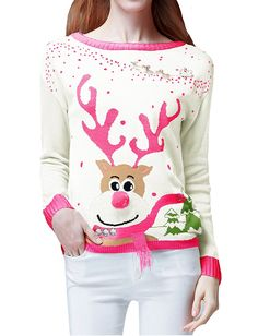 Women's Ugly Christmas Sweater, V28 Ladies Girls Cute Reindeer 3D Nose Sweater (L, Red) at Amazon Women's Clothing store: