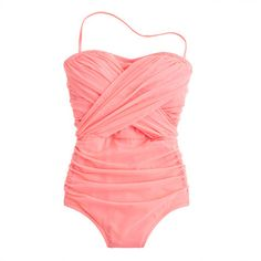 J. Crew Tulle bandeau tank swimsuit - Bright Guava - LOVE this.  I have other J.Crew swimsuits from their tulle collection, which I love, love, love... Great fit and quality.  I think the Bright Guava is a great color addition to the collection.