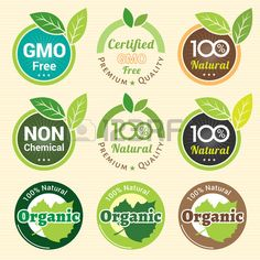 GMO Free Non GMO and organic guarantee tag label emblem sticker for plant fruits and vegetable Stock Vector - 48081326