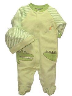 Little Me Alligator Layette Green