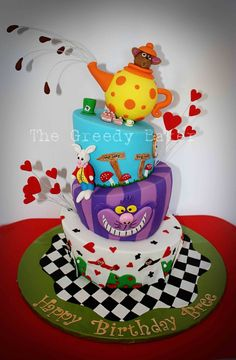 This is a Topsy Turvy/Mad Hatter cake!!